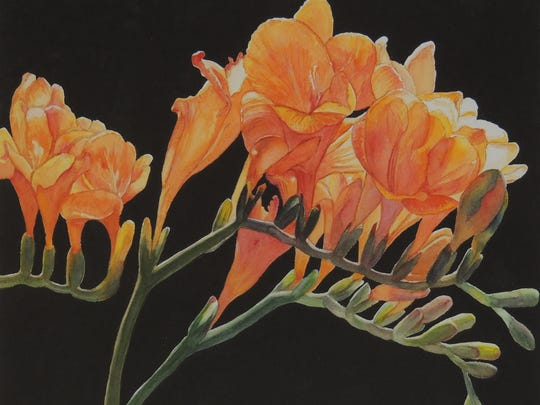 """Freesia"" by Pat Baca is featured in the New Mexico Watercolor Society-Southern Chapter juried members' show at the Branigan Cultural Center."