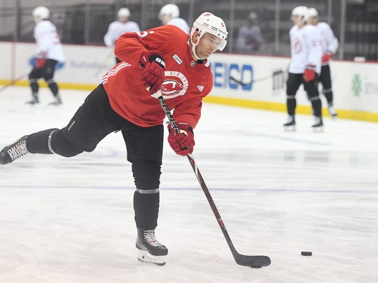 Devils practice at the Prudential Center on Saturday, September 16, 2017. D #6 Andy Greene.