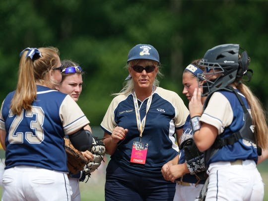 Susquehanna Valley's Karen Bidwell speaks to her infielders