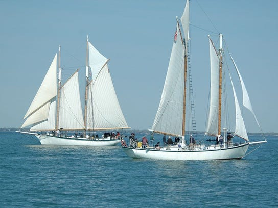 Two Bay Sail schooners on the water