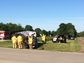 A photo from the ambulance rollover crash in Kohler Thursday morning.