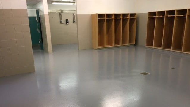 New paint and new flooring have improved the look of the locker rooms at McBride Stadium.