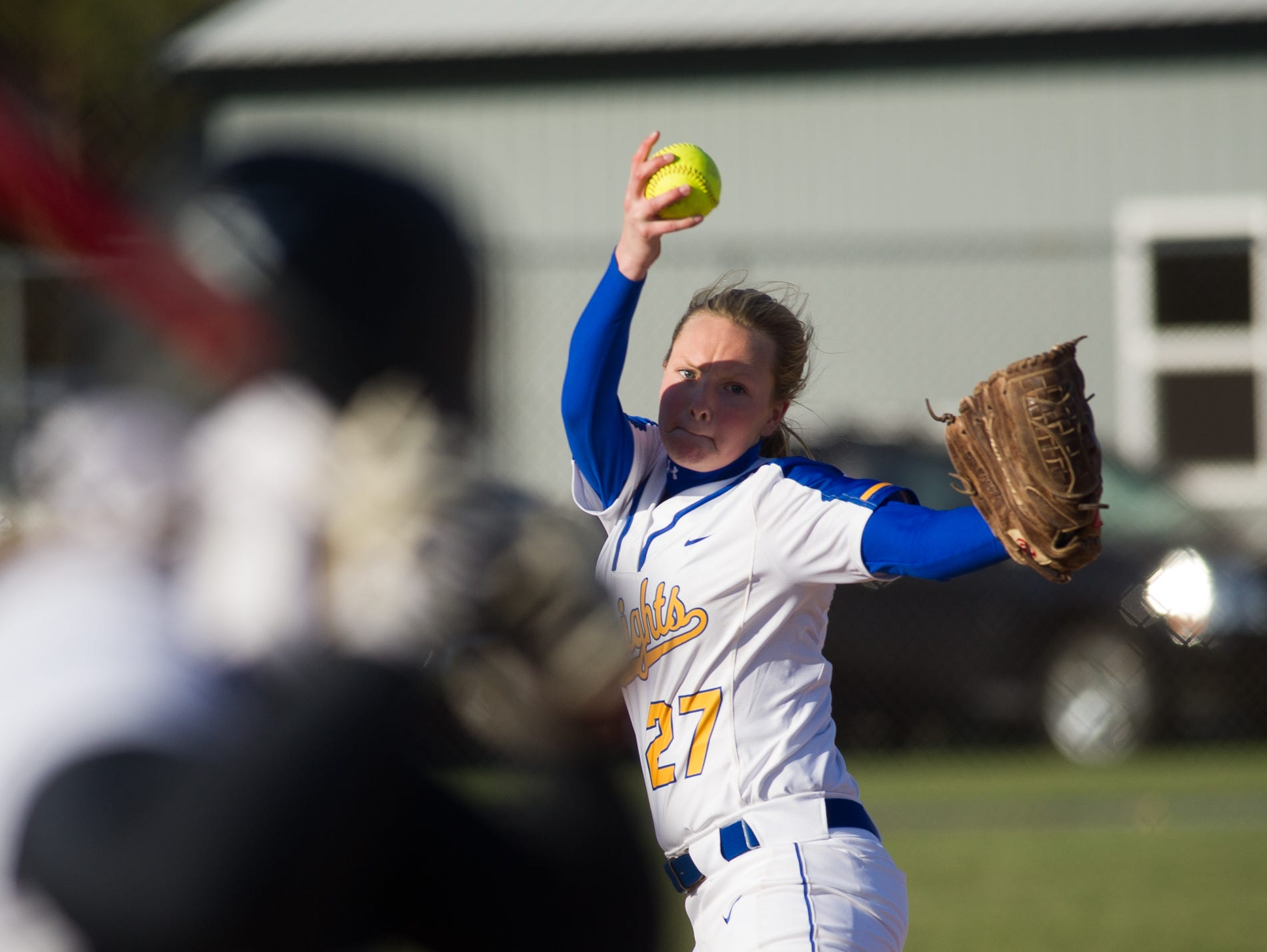 Sussex Central's pitcher Hayley McCabe (27) pitches in their game against Sussex Tech.