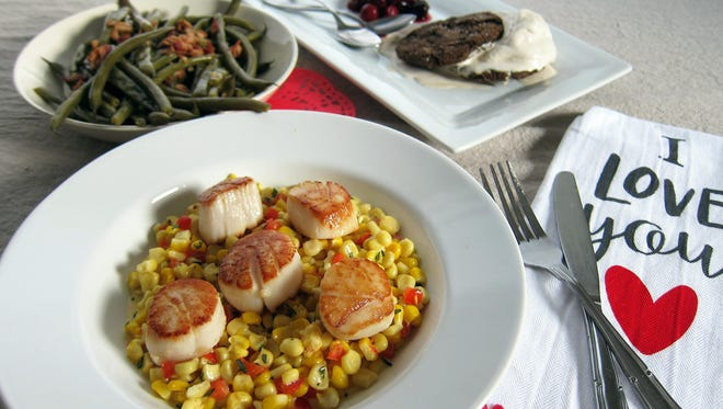 A romantic meal for two includes Simply Seared Scallops over Tarragon Creamed Corn, Bacon-Braised Green Beans and Buckwheat Molasses Cookies with Brown Sugar Ice Cream and Cherries.