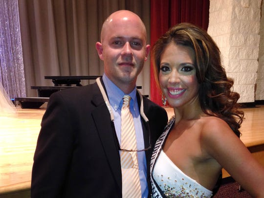 Hollie Harris Alexander with husband Chris Alexander at the Mrs. Tennessee United States Pageant in April of 2015.
