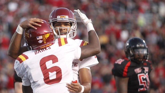 Iowa State quarterback Jared Barnett and receiver Darius Darks celebrate a touchdown in a 2011 upset of Texas Tech.