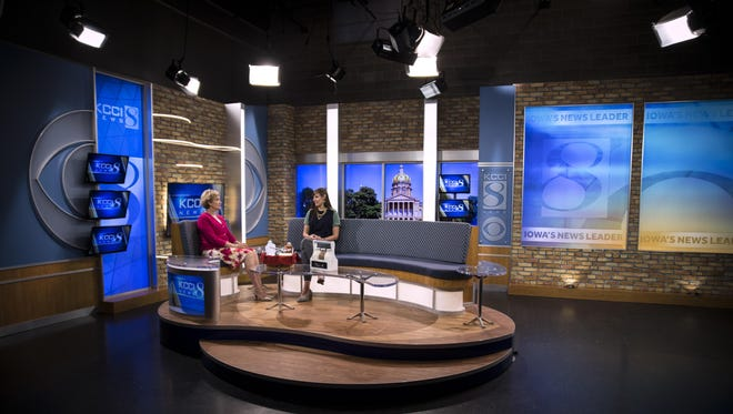 """KCCI Anchor Mollie Cooney, left, and Erin Thole, MidWest Dairy's health and wellness program manager, sit in the news station's redesigned Studio B on Thursday. The updated studio is """"night-and-day different"""" from the old look, said Brian Sather, the station's president and general manager."""