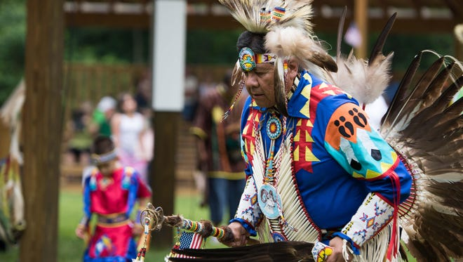 In this 2015 photo, Travis Parashonts dances in his traditional regalia at the Nottawaseppi Huron Band of the Potawatomi's annual Pow Wow.
