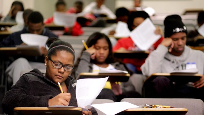 Students take a quick practice test for the ACT during the In Full Motion test prep program held at MTSU in 2013.