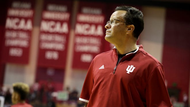 Indiana coach Tom Crean watches as his team prepares to scrimmage during IU's Hoosier Hysteria on Oct. 24, 2015, at Assembly Hall in Bloomington.