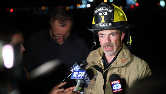 Gettysburg Fire Department Public Information Officer Russell McCutcheon addresses the media about a gas leak in Hamilton Township on Thursday. A truck backed into a gas line, officials said.