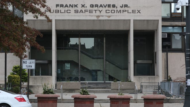 The area in front of the Frank X. Graves Jr. Public Safety Complex on Broadway in Paterson was the site of a police-involved shooting early Saturday evening. The scene is shown on Sunday, Oct. 30, 2016.