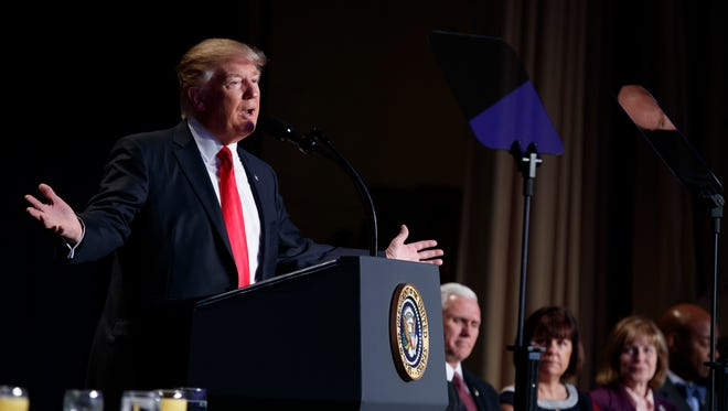 President Donald Trump speaks during the National Prayer Breakfast, Thursday, Feb. 2, 2017, in Washington.