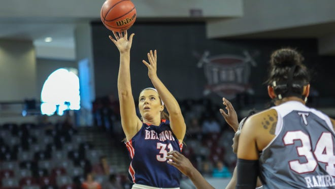 Belmont University's Maura Muensterman fires up a shot early on this season. The Mater Dei High product has missed all but three games with a foot injury.
