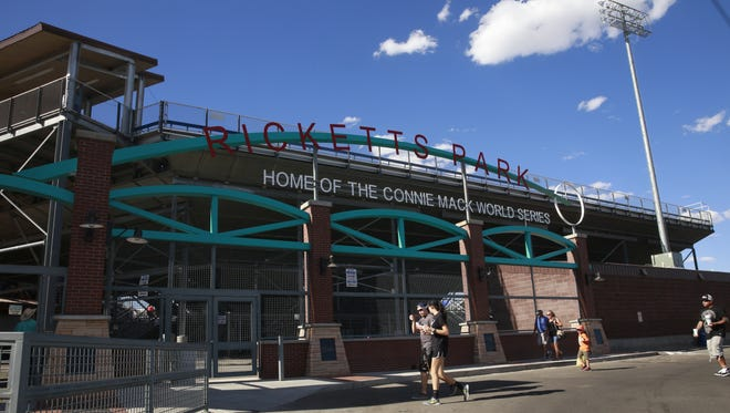 Fans enter the gates at Ricketts Park, which will be the home of the Farmington Frackers collegiate baseball league team this summer.