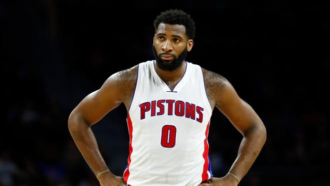 Pistons center Andre Drummond reacts late in the 105-102 loss to the Raptors at the Palace on April 5, 2017.