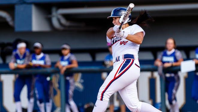 Lauren Chamberlain follows through on a hit.
