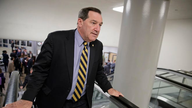 In this April 7, 2017, file photo, U.S. Sen. Joe Donnelly, D-Ind., arrives for the confirmation vote for Supreme Court nominee, Neil Gorsuch, on Capitol Hill in Washington.