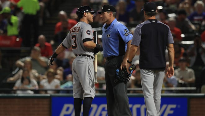 Tigers second baseman Ian Kinsler after being ejected by home plate umpire Angel Hernandez during the Tigers' 6-2 loss to the Rangers on Monday, Aug. 14, 2017, in Arlington, Texas.