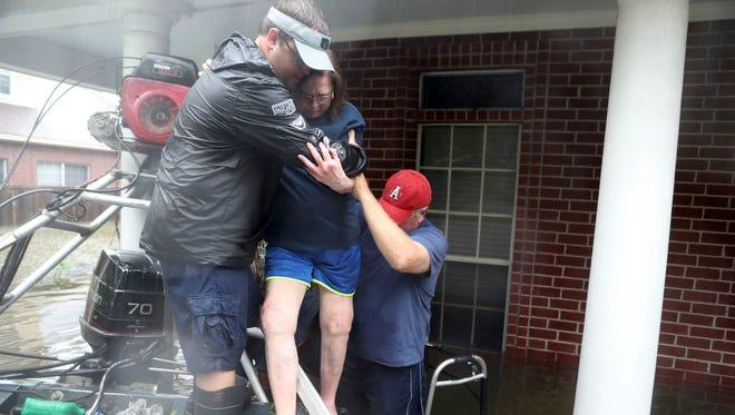 Evacuees in Dickinson, Texas, on Aug. 27, 2017.