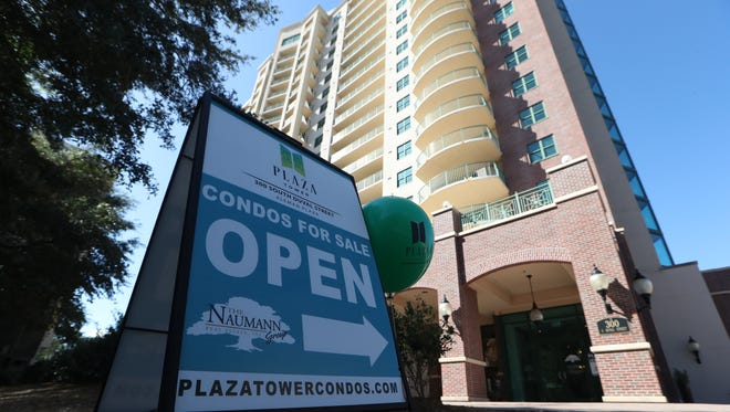 Downtown's Plaza Tower, a condominium building that ten years after construction, remains still half unsold.