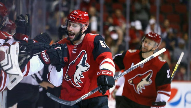Arizona Coyotes defenseman Jason Demers (55) celebrates his first period goal with teammates against the New Jersey Devils at Gila River Arena.