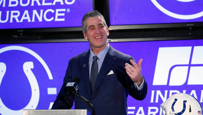 Feb 13, 2018; Indianapolis, IN, USA; Indianapolis Colts coach Frank Reich after being hired as the new head coach speaks for the first time at a press conference at Lucas Oil Stadium. Mandatory Credit: Brian Spurlock-USA TODAY Sports