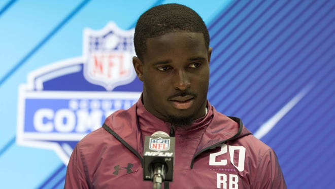 Georgia Bulldogs running back Sony Michel speaks to the media during the 2018 NFL combine at the Indianapolis Convention Center.