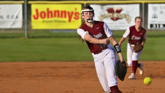Ouachita pitcher Allie Ellerbe (12) struck out 10 batters in a one-hit performance during the Lady Lions' 3-0 win over Alexandria in the Class 5A quarterfinals.