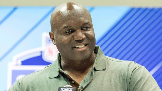 New York Jets head coach Todd Bowles speaks to the media during the 2018 NFL Combine at the Indianapolis Convention Center.