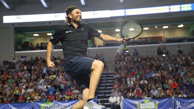 Madisen's Match, a pro tennis classic benefitting the Golisano Children's Hospital was played at the Suncoast Credit Union Arena at Florida Southwestern State College on Monday 3/19/2018. The exhibition matches featured No. 14 world ranked player Sam Querry, Mardi Fish, Mike and Bob Bryan, Luke and Murphy Jensen, Don Johnson and Robby Ginepri among others. This is the first indoor tennis match in Southwest Florida.