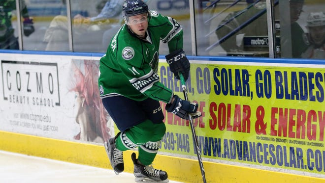 Michael Kirkpatrick skates up the ice during the Florida Everblades final regular season home series against the Greenville Swamp Rabbits at Germain Arena on Friday, March 30, 2018. The Blades defeated the Swamp Rabbits, 5-3, and move to 48-13,-2-4 on the season.