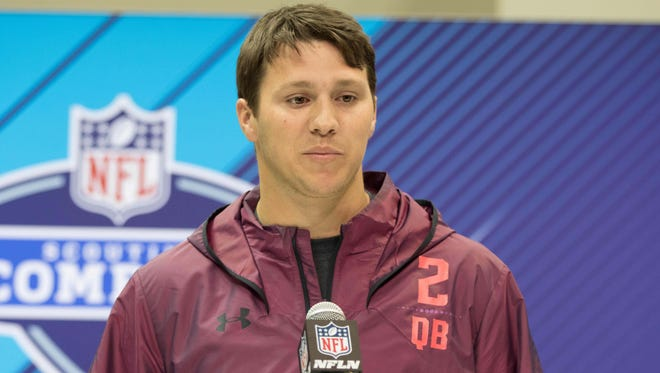 Wyoming Cowboys quarterback Josh Allen speaks to the media during the 2018 NFL Combine at the Indianapolis Convention Center.