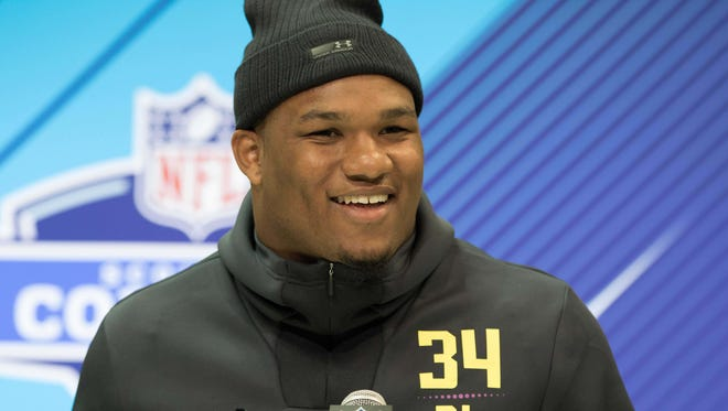 Da'Shawn Hand speaks to the media during the 2018 NFL combine.