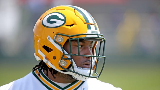 Green Bay Packers running back Aaron Jones (33) during Green Bay Packers Organized Team Activities at Ray Nitschke Field Tuesday, May 22, 2018 in Ashwaubenon, Wis