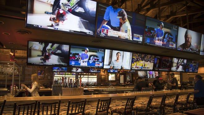 The bar inside Twin Peaks restaurant at Westgate in Glendale.