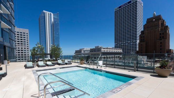 The ninth-floor terrace at 7Seventy7 features a small pool, grills and lounge chairs with views of the skyline and Lake Michigan. The building is at 777 N. Van Buren St.