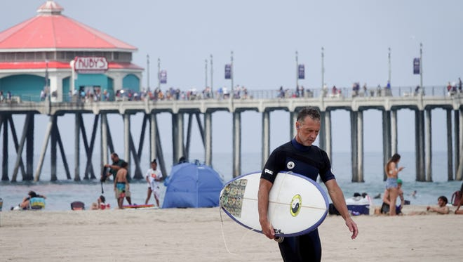 An afternoon surfer in Huntington Beach.