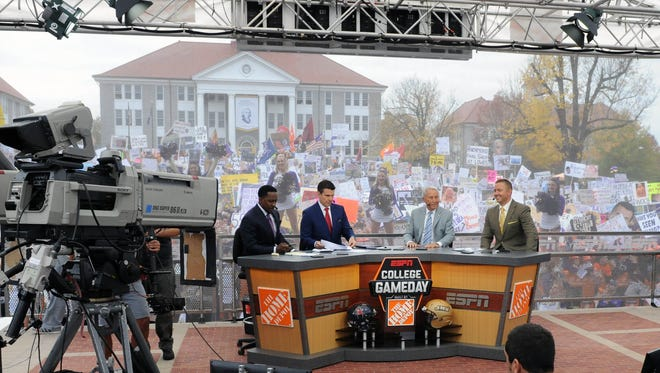 Oct 24, 2015; Harrisonburg, VA, USA; General view of ESPN Gameday set during the broadcast in the front of Wilson Hall on the campus of James Madison University prior to the homecoming game between Richmond and James Madison at Bridgeforth Stadium. Mandatory Credit: Brad Mills-USA TODAY Sports