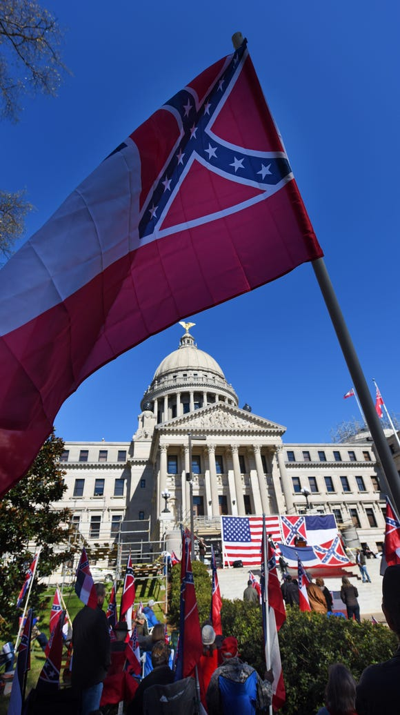 Supporters of keeping Mississippi's state flag wave