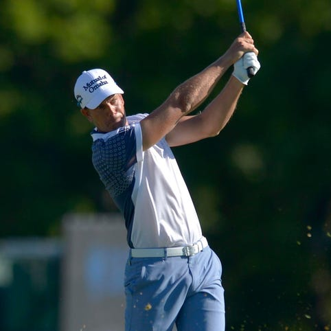Henrik Stenson plays his tee shot at the 7th hole during the second round of The Barclays.
