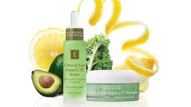 Citrus & Kale Potent C+E Serum, left, and Citrus & Kale Potent C+E Masque are made with kale. With a boost in popularity as a food and juice, kale has made its way into the beauty industry.