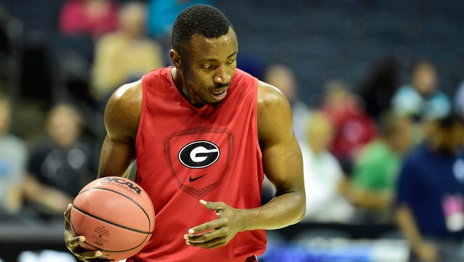Mar 19, 2015; Georgia Bulldogs center Osahen Iduwe (15) during practice before the second round of the 2015 NCAA Tournament.