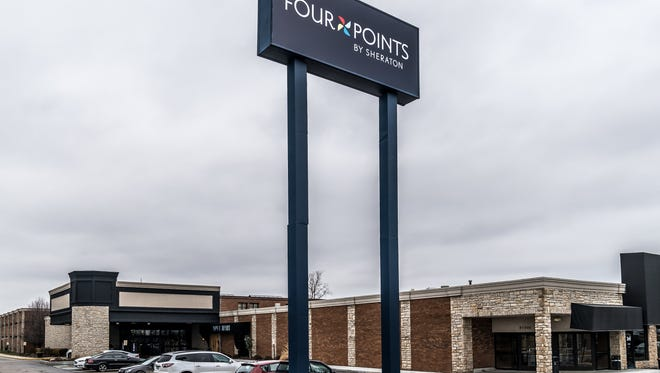 The former Crowne Plaza Hotel in Novi is remodeled and re-branded as a Four Points by Sheraton.