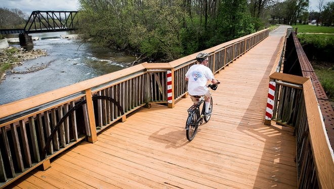 The Cardinal Greenway extends more than sixty miles through Delaware County.
