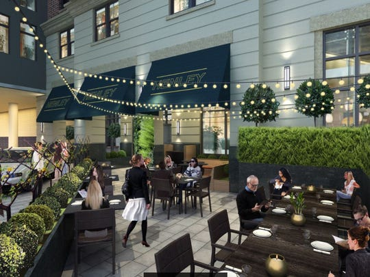 Rendering of patio area of new restaurant Henley, opening late spring 2017 in Midtown.
