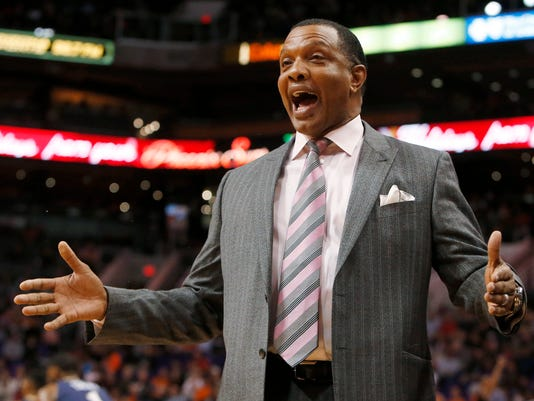 New Orleans Pelicans coach Alvin Gentry reacts to a foul call during the first quarter of his team's NBA basketball game against the Phoenix Suns, Friday, Dec. 18, 2015, in Phoenix. (AP Photo/Rick Scuteri)