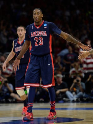 Mar 28, 2015: Arizona Wildcats forward Rondae Hollis-Jefferson (23) reacts against Wisconsin Badgers during the first half in the finals of the west regional of the 2015 NCAA Tournament at Staples Center.