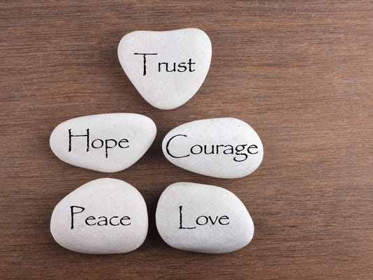 love, trust, courage, hope, peace word