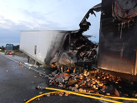 A load of frozen bagels that ended up toasted and strewn along Interstate 65 near Rensselaer, Ind.